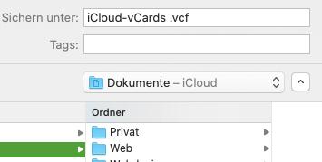 Kontakte-Export-Datei