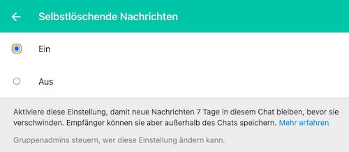 WhatsApp Chat löschen